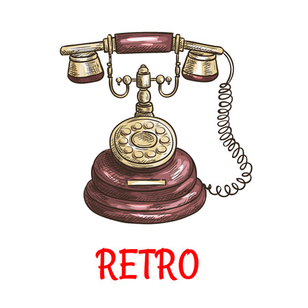 Old vintage retro phone with receiver, dial, wire. Vector color sketch antique telephone
