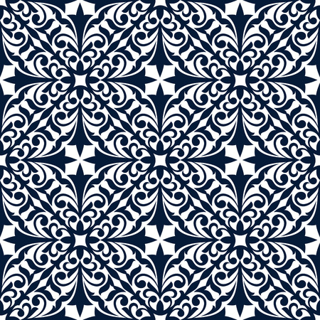 tendrils: Floral arabesque seamless pattern of blue and white damask ornament with flourishes, curly leaves and tendrils. Tile or carpet tracery design
