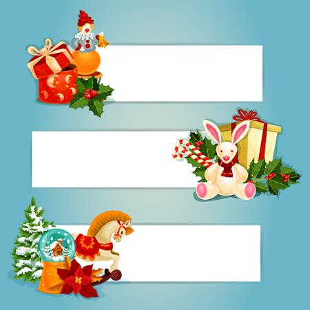year of the rabbit: Gifts and toys banners set. Gift boxes with bow, holly berry, candy cane and pine tree, snow globe and poinsettia, rabbit, horse and clown toy. Festive banners ofr New Year holiday design