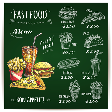 french cafe: Fast food menu list on chalkboard with hamburger, hot dog, taco, pizza, soda drink, french fries and popcorn sketches. Fast food cafe, food delivery service themes design