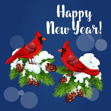 snow cardinal: Cardinal birds holiday greeting card. Red cardinals sitting on snowy pine branch with cones and text Happy New Year. Festive poster design