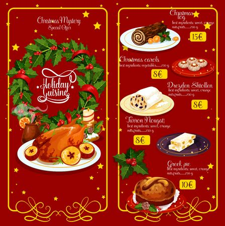 bread and wine: Christmas dinner restaurant menu. Xmas turkey, wine, chocolate cake, greek sweet bread, pie, fruit stollen and spanish nougat with holly berry wreath and candle, framed by vignette with stars Illustration