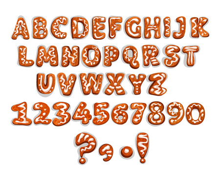 Gingerbread letters and digits. Christmas ginger cookie in shape of alphabet character, number and punctuation marks with sugar icing ornament. Christmas and new Year holidays design Çizim