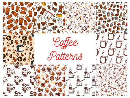 turk: Coffee cups and coffee makers seamless patterns. Background wallpapers with vector icons of vintage coffee mill, turkish cezve, espresso machine, retro coffee grinder, moka pot, macchinetta, milk pack, coffee beans, nut syrup