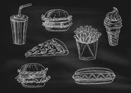 Fast food chalk sketch icons on blackboard. Snacks, desserts, drinks. Isolated vector french fries in box, pizza slice