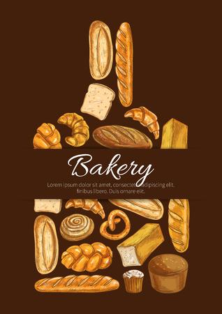 pretzel: Bakery symbol. Baker shop poster in shape of cutting board with sketch bread icons. Wheat and rye bread loaf, bagel, croissant, pretzel, sweet bun, cinnamon roll, muffin, dessert pie