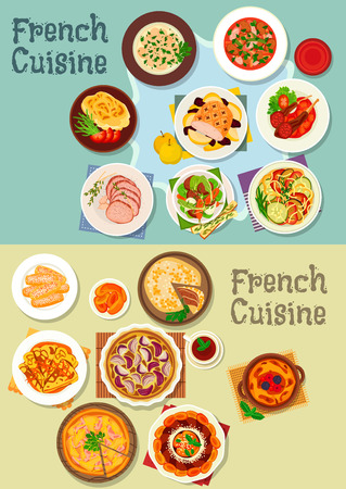 fruit cake: French cuisine meat and dessert dishes icon set of ratatouille stew, onion, ham pie, lamb and beef roast, meat stew, baked pork and potato, fruit cake, pancake, stuffed cabbage, berry dessert, cookie