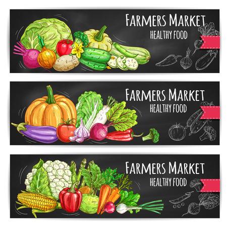 Groenten gezonde voeding. Vector geschetst boerenmarkt banners met groenten oogsten als kool en bloemkool, pompoen, paprika en komkommer, knoflook, aubergine en bieten, maïs, asperges en ui, radijs, tomaat, erwten, broccoli, wortel, bloemkool