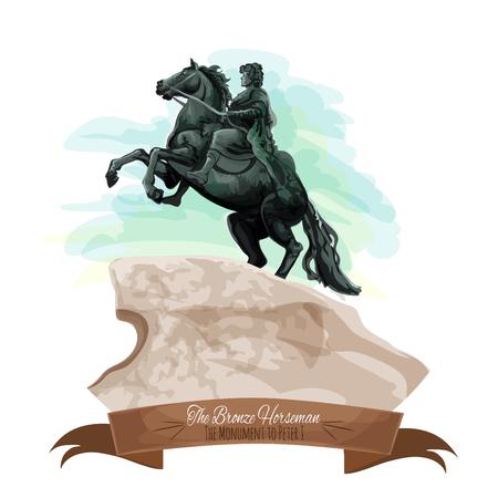 uomo a cavallo: Punti di riferimento russo icona del fumetto con la statua cavaliere di bronzo di Pietro il Grande sulla Postament pietra a San Pietroburgo, decorata da nastro banner