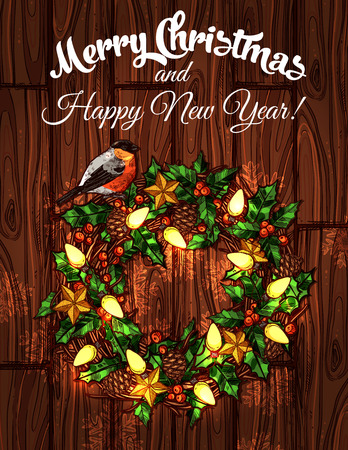 adorned: Christmas and New Year wreath composed of holly berry on wooden background, adorned with golden star, snowflake, garland, bullfinch and pine cone. Winter holidays poster design