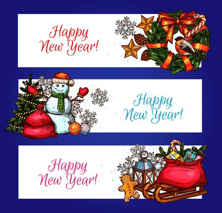 pine wreath: New Year holiday banners. Sketched pine tree, gift box, pine wreath with ribbon bow, snowman in santa hat, gingerbread man, snowflake, star and bauble ball, calendar and lantern. New Year theme design