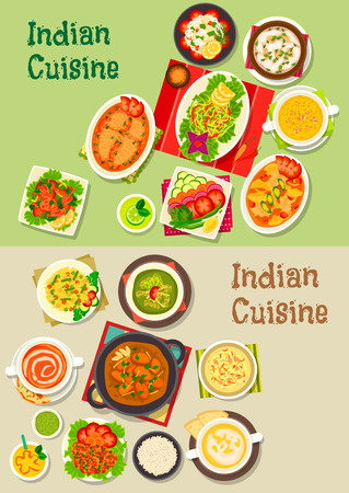 fried shrimp: Indian cuisine icon with turkey curry, pilau, vegetable, meat and fish salad, soup with seafood, tomato and pea, chicken and salmon stew, fried shrimp and perch, rice dessert, mango yogurt drink