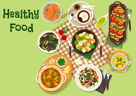 Healthy food and seafood lunch dishes icon with mussel pasta, carrot cream soup, grilled vegetable salad, cauliflower casserole, grilled prawn and mussel, shrimp and egg salad, chocolate mousse