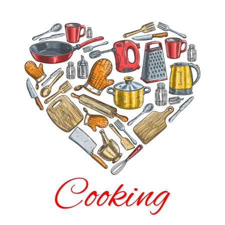 cooking utensils: Cooking kitchenware poster. Vector heart symbol of sketched kitchen and cooking utensils electric kettle, grater, mixer, saucepan, frying pan, cooking glove, cup, mortar, cup, salt, pepper, spatula, knife, cutting board, fork, hatchet