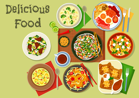 vegetable salad: Breakfast food icon with british egg and bacon, french apple pancake, chinese pork shrimp noodle, thai squid salad, fish potato soup, bean stew, lamb vegetable roast, chicken broccoli soup Illustration