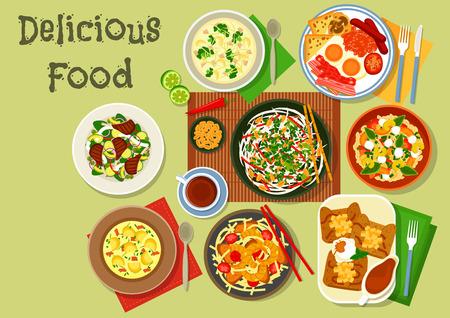 ensalada de verduras: Desayuno icono de los alimentos con huevo y bacon británico, panqueque de manzana francés, fideos chinos camarones de cerdo, ensalada de calamar tailandés, sopa de patata pescados, fabada, cordero asado de verduras, sopa de brócoli de pollo