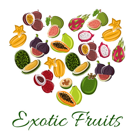 exotic fruit: Heart of exotic fruit with cartoon tropical papaya, dragon fruit, carambola, passion fruit, durian, lychee, fig, guava. Love fruit poster for food, juice, vegetarian dessert design