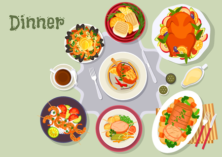 veg: Christmas dinner icon of baked duck with fruit, pork with vegetable, pork chop, fish with oranges, seafood paella, beef steak, spicy shrimp skewers. Festive xmas and New Year menu design