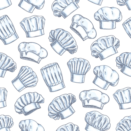 kitchener: Chef toques seamless background. Wallpaper with vector pattern icons of restaurant cook caps. Pencil sketch decoration for restaurant, bakery, kitchen Illustration