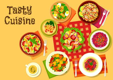 ensalada de frutas: platos de ensalada vista desde arriba icono con ensaladas de verduras con queso, tofu frito y tocino, ensalada de frutas con pan frito, bacalao ensalada de huevo hígado, cuscús ensalada de calabacín tomate, arroz frito con verduras Vectores