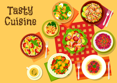 veggies: Salad dishes top view icon with vegetable salads with cheese, fried tofu and bacon, fruit salad with croutons, cod liver egg salad, couscous tomato zucchini salad, fried rice with vegetables