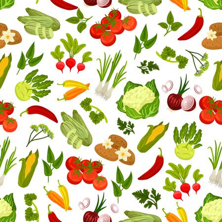 Farm fresh vegetables seamless pattern. Vector pattern of vegetarian products cucumber, carrot, potato, beet, kohlrabi, radish, pepper, tomatoes, corn, cauliflower, onion cabbage, zucchini