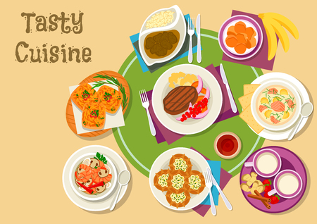 Thai and finnish cuisine dishes icon with green curry, fried banana, shrimp mushroom soup and pork sandwich, rice pie, salmon cream soup, venison in berry sauce and dairy dessert