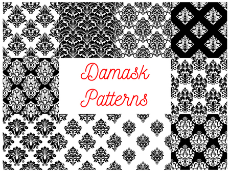 Damask patterns. Vector pattern of ornamental floral decoration elements. Luxurious royal baroque ornaments and imperial decorative flourish black and white pattern tiles Illustration