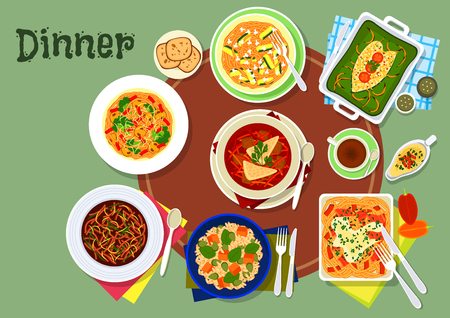 Restaurant dinner dishes icon with mushroom pasta, pumpkin rice, baked fish with spinach, bean soup, beet mushroom soup, zucchini lemon pasta, spaghetti with cheese sauce and bacon