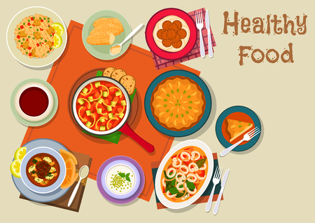 Spanish and jewish cuisine icon with meat paella, vegetable stew, beef soup, seafood stew with cuttlefish, chickpea falafel, milk dessert, fried cream, semolina cake with nuts. Healthy food design Stock Vector - 67400339