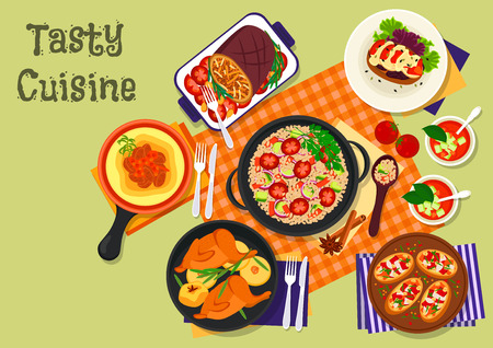 Vegetable and meat dinner dishes icon of baked pork with vegetable, beef stew with polenta, spanish tomato soup, italian pepper bruschetta, vegetable couscous salad, stuffed eggplant, fried quail Stock Vector - 67400669