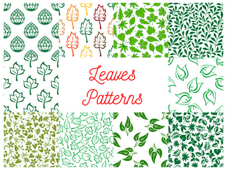 autumn garden: Leaves seamless pattern set with green foliage and stems of plants and herbs, tree branches and shrub twigs on white background. Wallpaper and fabric print, nature and ecology themes design