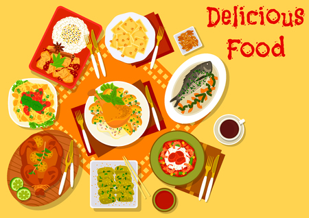 World cuisine popular dishes icon with italian chicken tomato pasta and pumpkin ravioli, japanese eggplant stew and vegetable beef rice, seafood rice, baked fish and chicken, fried duck leg