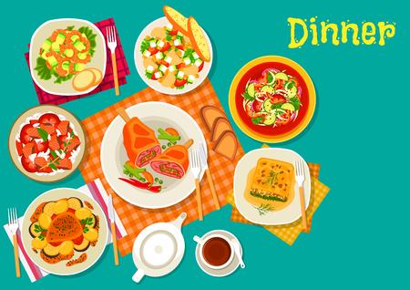 ensalada de frutas: Los platos de carne con ensaladas frescas icono de ensalada de verduras, carne de cerdo al horno, ensalada de arroz de pescado, camarones ensalada de aguacate, espinacas lasaña, ensalada de setas con maíz dulce, Chuleta de cordero con verduras