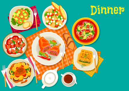 fresh vegetable: Meat dishes with fresh salads icon of vegetable salad, baked pork, fish rice salad, shrimp avocado salad, spinach lasagna, mushroom salad with sweet corn, lamb cutlet with vegetables