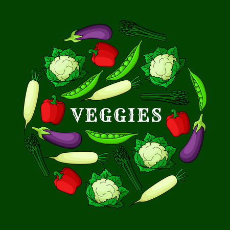 pea pod: Veggies background with fresh vegetables icons. Vector elements of radish, eggplant, aubergine, cauliflower, pea pod, pepper, asparagus. Wallpaper for grocery store, food market and product shop
