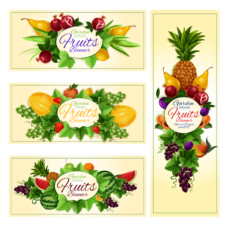Fruit and berry cartoon banner set. Apple, orange, strawberry, grape, pineapple, plum, peach, watermelon, pear, pomegranate, melon and lemon fruits label. Juice packaging, diet food and drink design Illustration
