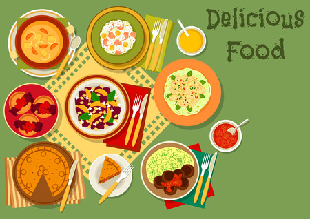 Popular dishes of Great Britain and thai salad icon with british meat pie, rice with fish and egg, ale cream soup, chocolate pudding, meatball with mashed potato, beet and squid salads Illustration