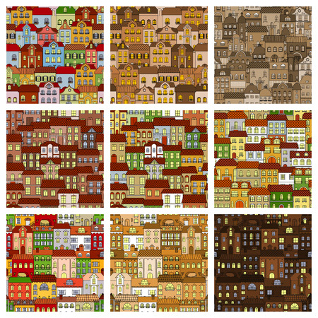 roof windows: Houses and buildings patterns set. Vector seamless pattern of day and night cartoon city house with windows, roof, street. Urban town retro architecture flat decoration background design Illustration
