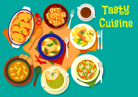 noodle soup: Soup and fish dinner dishes menu icon of chicken noodle soup, grilled salmon with vegetable, baked fish with cheese, tomato and carrot, italian vegetarian soup, thai chicken lime soup, pea cream soup