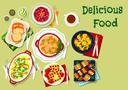 Fish snack dishes icon of salmon roll with nut, baked salmon with pumpkin and chicken leg in cheese sauce, beet cheese salad, cheese waffle, herring and pickle skewer, potato spinach stew Illustration