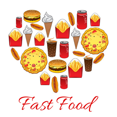 crisp: Fast food. Vector poster of fast food meal snacks, drinks, desserts, drinks, cheeseburger, french fries, pizza slice, hot dog, soda drink, ice cream, popcorn Illustration