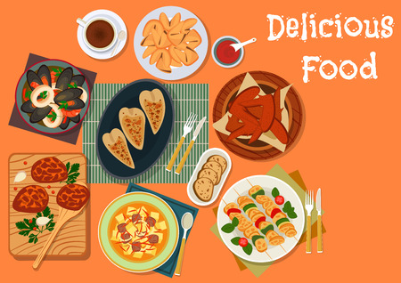 fortune cookie: Meat and seafood dinner dishes icon of chicken wings with honey sauce, beef meatball, seafood stew, turkey skewers, vegetable beef soup, stuffed squid and fortune cookie