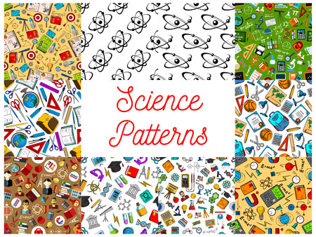 Science seamless patterns. Vector pattern of scientifical objects and symbols, school and university supplies and stationery, atom, formula, microscope, telescope, dna, chemicals, substance, gene, molecule, globe, proton, magnet, calculator Illustration