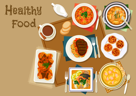Portuguese dinner food icon of tomato bean soup, seafood salad, fish tomato soup, potato cabbage soup with sausage, chicken in chilli sauce, stewed beef, custard cake. Healthy food menu design