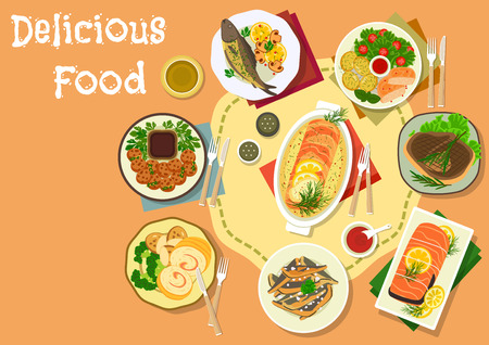 grilled salmon: Popular meat and fish dishes for lunch icon of baked pork with vegetables, salmon in cream sauce, chicken roll with ham, meatball, salmon roll with rice, grilled pork loin, fried anchovy and trout