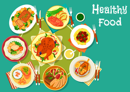 Festive dinner meat dishes icon of turkey in bacon with mushroom sauce, beef steak with vegetables, duck and pork chop with oranges, beef stew with pasta, lamb with potato, baked pork Illustration