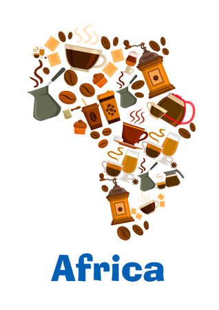 cafe latte: Coffee beans, mills, cups in shape of Africa continent map. Vector pattern of coffee makers, chocolates, hot cappuccino, mocha, latte coffee, muffin, turkish cezve for cafe design