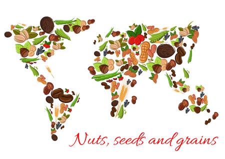 nutritious: World map poster of vector nuts, grains, seeds. Vector nut, grain, kernels, natural nutritious coconut, almond, pistachio, cashew, hazelnut, walnut, bean pod, peanut, sunflower, wheat ears, pumpkin seeds. Vegetarian healthy raw food concept