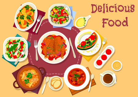 Baked chicken with vegetables icon served with eggplant snack with chili and tomato, lamb chickpea soup, portuguese meat bean soup, cabbage roll, watermelon salads with cheese, olives and cucumber
